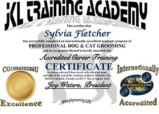 JKL Training Certificate for Dog and Cat Pet Grooming